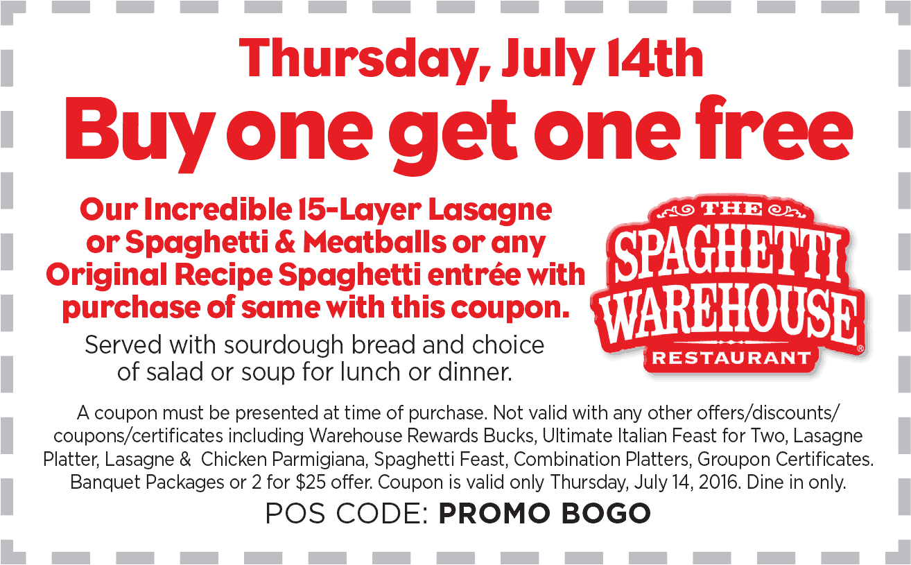 Spaghetti Warehouse Coupon June 2017 Second lasagna or spaghetti & meatballs free Thursday at Spaghetti Warehouse restaurants