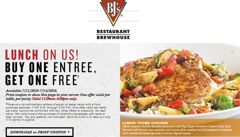 BJs Restaurant Coupon August 2017 Second lunch entree free today at BJs Restaurant & brewhouse