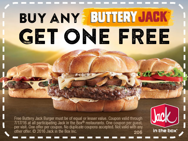 Jack in the Box Coupon February 2017 Second buttery jack burger free at Jack in the Box