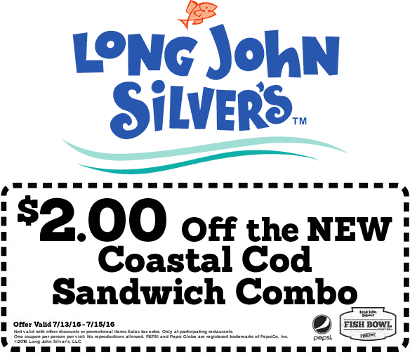 Long John Silvers Coupon August 2017 $2 off a cod sandwich at Long John Silvers