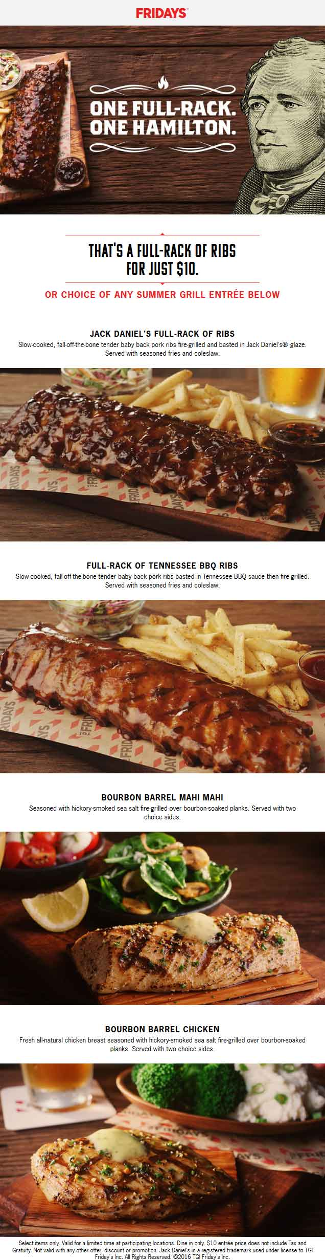 TGI Fridays Coupon June 2017 Full rack ribs for $10 & more at TGI Fridays