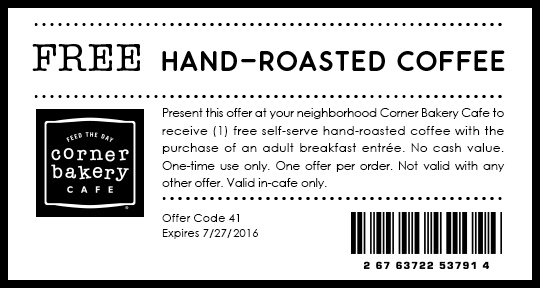Corner Bakery Cafe Coupon June 2017 Free coffee with your entree at Corner Bakery Cafe
