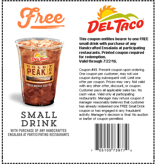 Del Taco Coupon June 2018 Free drink with your salad at Del Taco