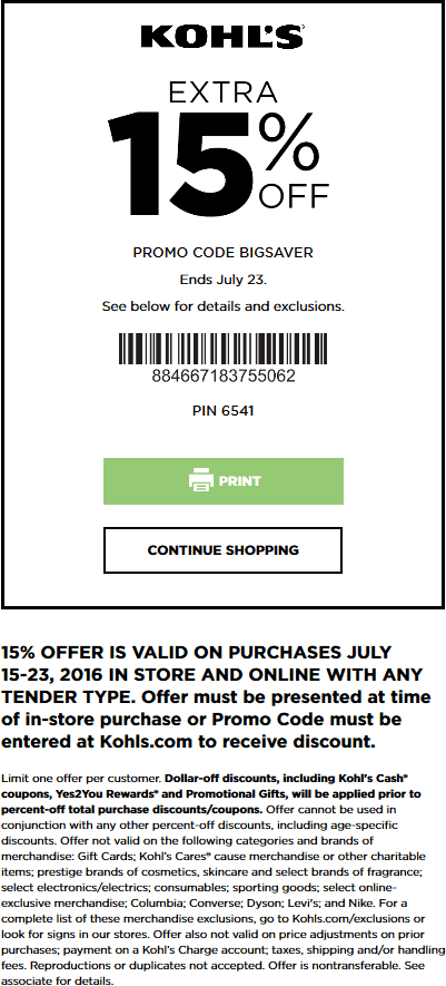 Kohls Coupon June 2017 15% off at Kohls, or online via promo code BIGSAVER