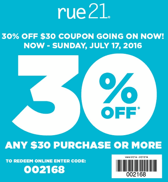 Rue21 Coupon July 2017 30% off $30 at rue21, or online via promo code 002168