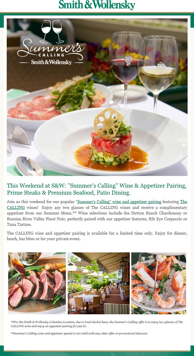 Smith & Wollensky Coupon January 2018 Free appetizer with your glasses of wine at Smith & Wollensky steakhouse