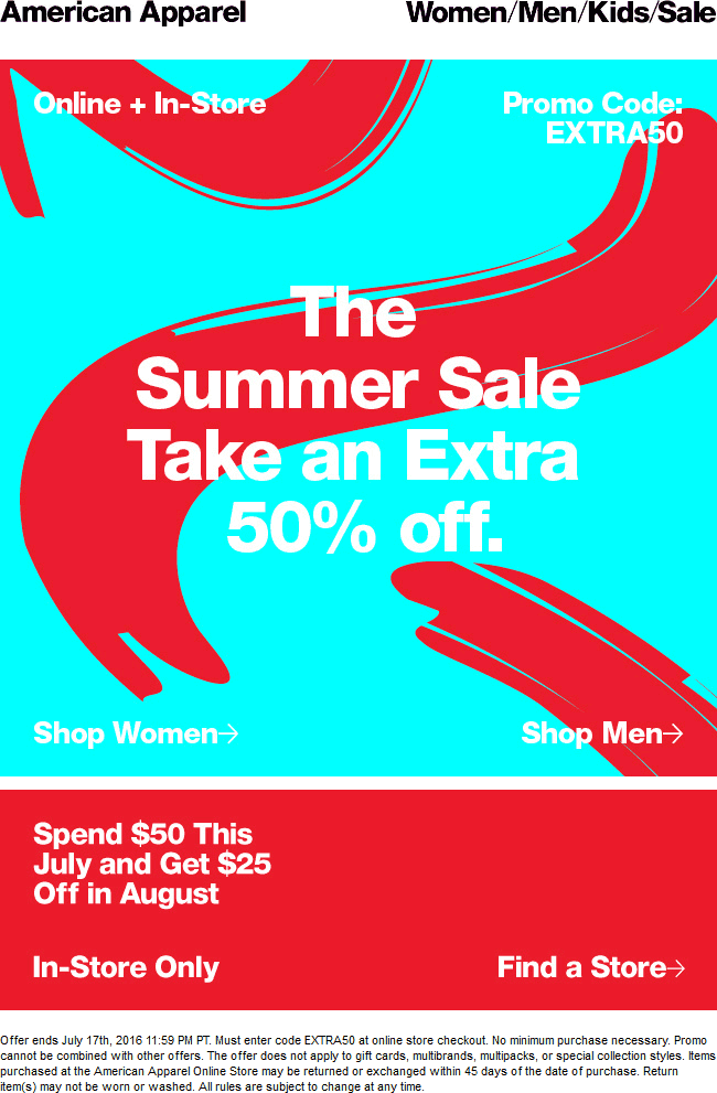 American Apparel Coupon February 2017 Extra 50% off at American Apparel, or online via promo code EXTRA50
