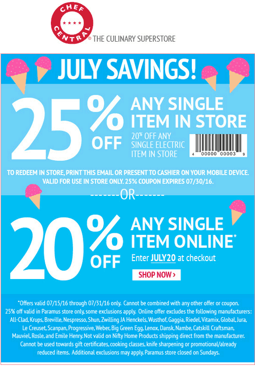 Chef Central Coupon May 2018 25% off a single item at Chef Central, or 20% online via promo code JULY20