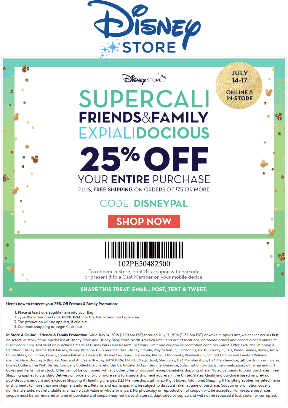 DisneyStore.com Promo Coupon 25% off at Disney Store, or online via promo code DISNEYPAL