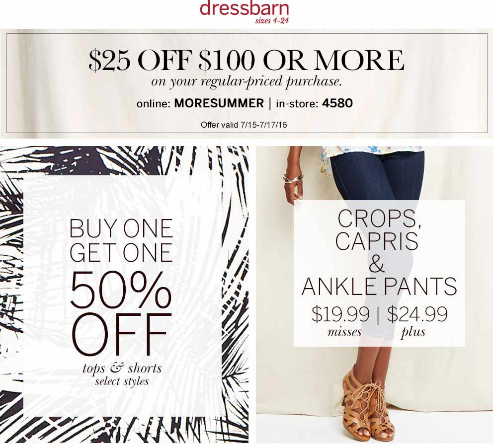 Dressbarn Coupon October 2016 $25 off $100 at Dressbarn, or online via promo code MORESUMMER