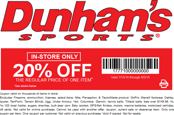 Dunhams Sports Coupon May 2017 20% off a single item at Dunhams Sports