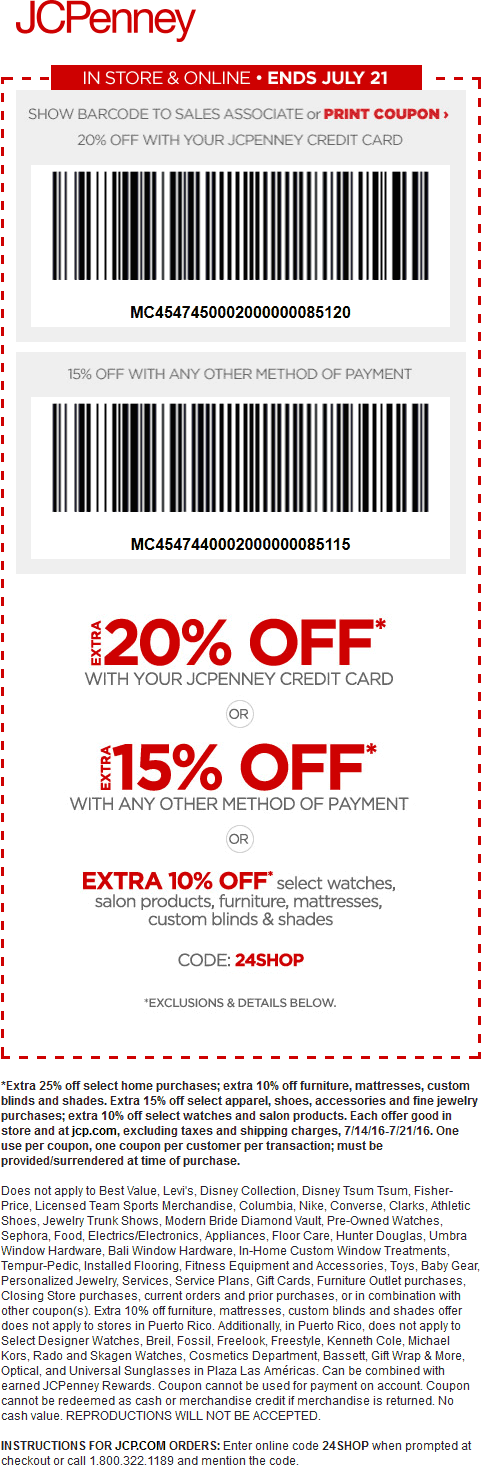 JCPenney Coupon May 2018 Extra 15% off at JCPenney, or online via promo code 24SHOP
