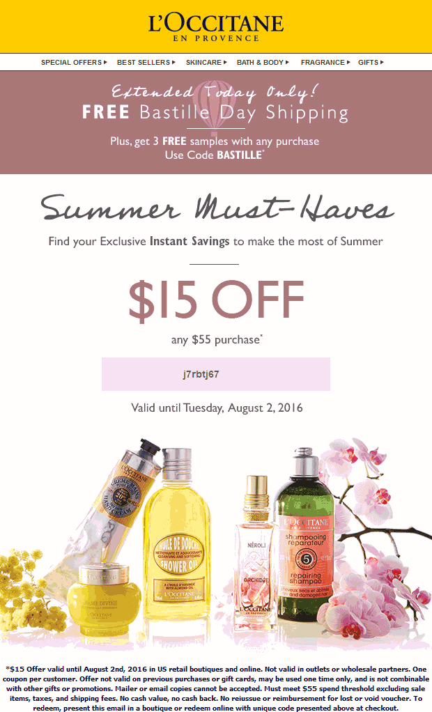 LOccitane Coupon March 2017 $15 off $55 at LOCCITANE, or online via promo code j7rbtj67