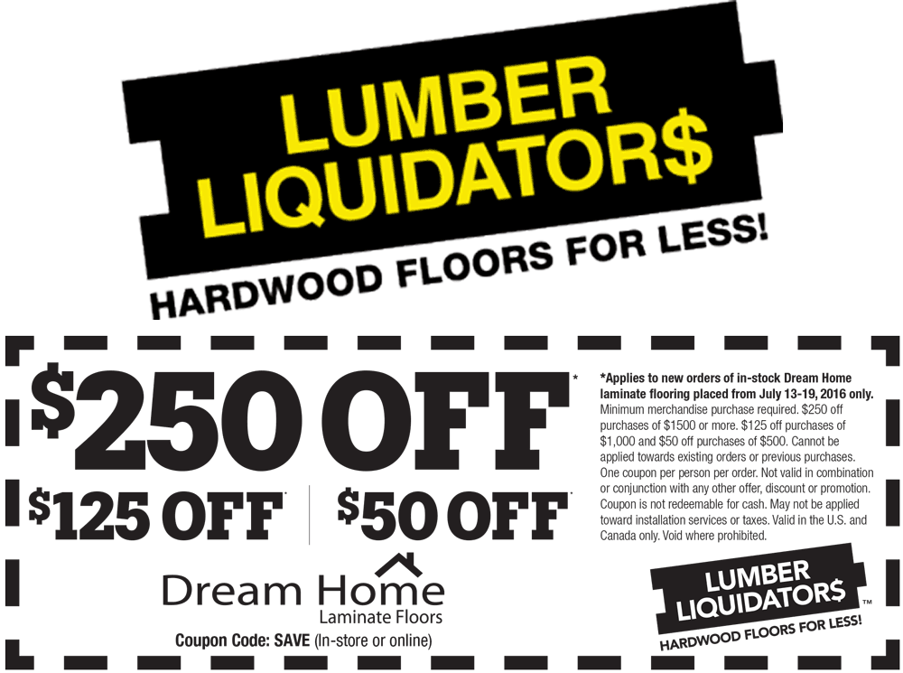 Lumber Liquidators Coupon January 2018 $50 off $500 & more at Lumber Liquidators flooring, or online via promo code SAVE