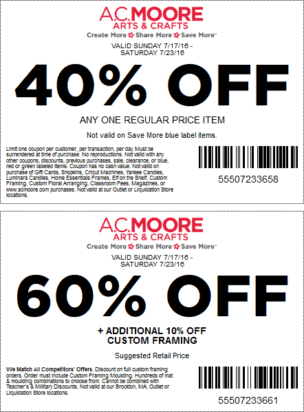 A.C.Moore.com Promo Coupon 40% off a single item & more at A.C. Moore