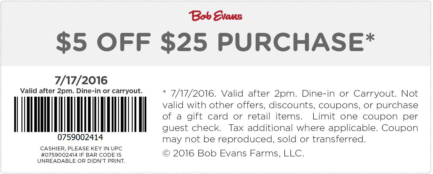 Bob Evans Coupon January 2017 $5 off $25 today at Bob Evans restaurants