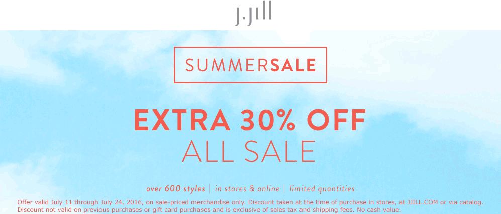 J.Jill Coupon February 2017 Extra 30% off sale items at J.Jill, ditto online