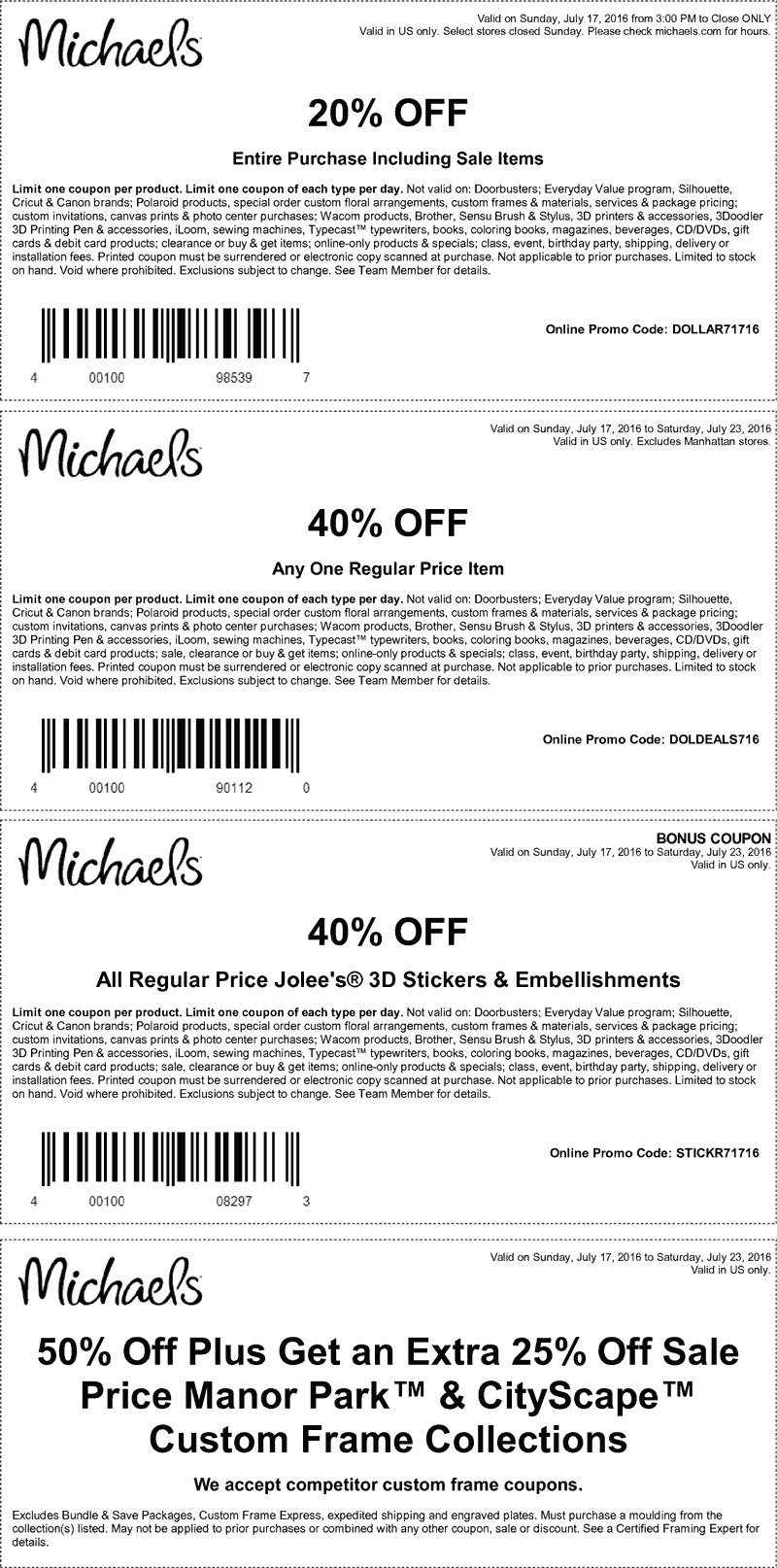 Michaels Coupon March 2017 40% off a single item & more at Michaels, or online via promo code DOLDEALS716