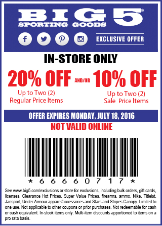 Big 5 Coupon April 2017 20% off a couple items today at Big 5 sporting goods