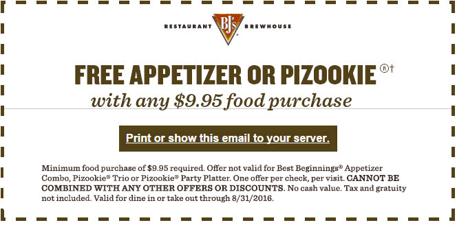 BJs Restaurant Coupon March 2018 Free appetizer with $10 spent at BJs Restaurant