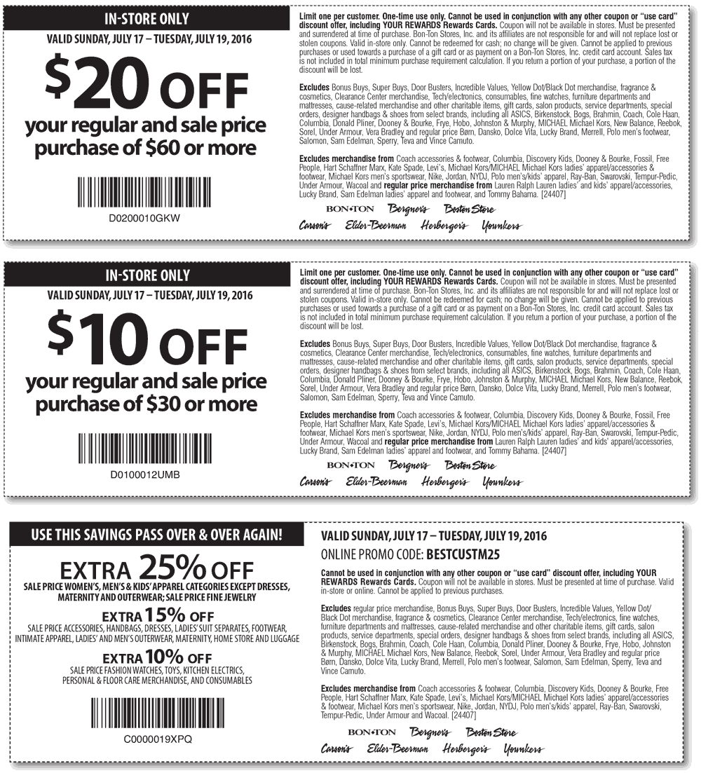 Carsons Coupon March 2019 $10 off $30 & more at Carsons, Bon Ton & sister stores, or 25% online via promo code BESTCUSTM25