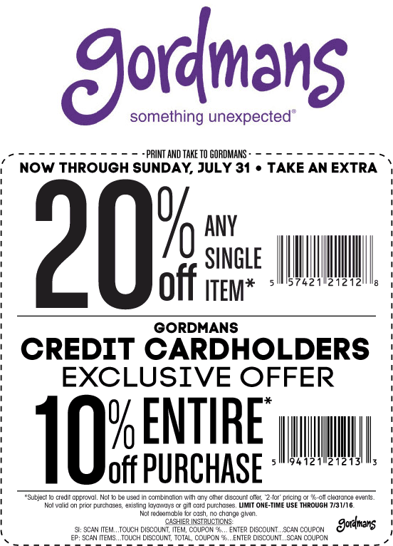 Gordmans Coupon June 2017 20% off a single item at Gordmans