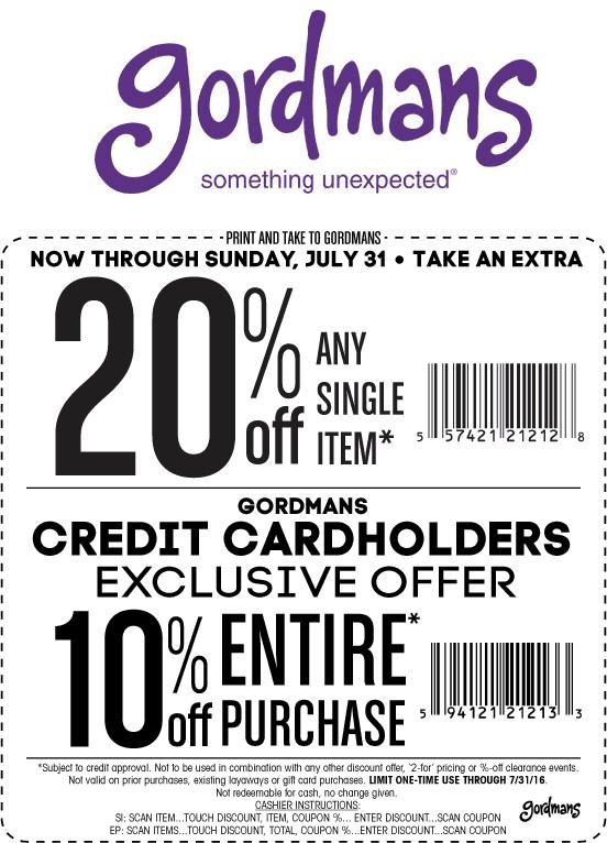Gordmans Coupon December 2016 20% off a single item at Gordmans