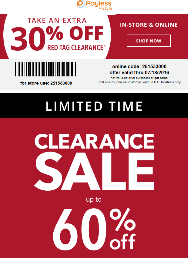 Payless Shoesource Coupon July 2017 Extra 30% off clearance today at Payless Shoesource, or online via promo code 251533000