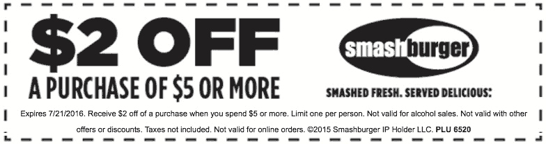 Smashburger Coupon January 2017 $2 off $5 at Smashburger restaurants