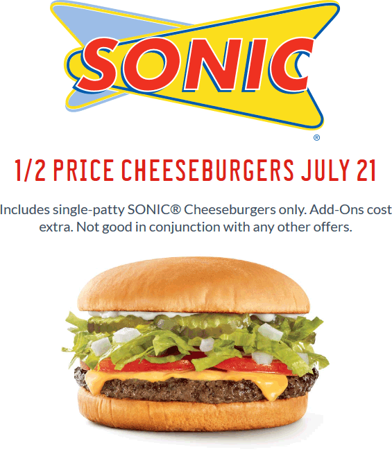 Sonic Drive-In Coupon July 2017 50% off cheeseburgers Thursday at Sonic Drive-In