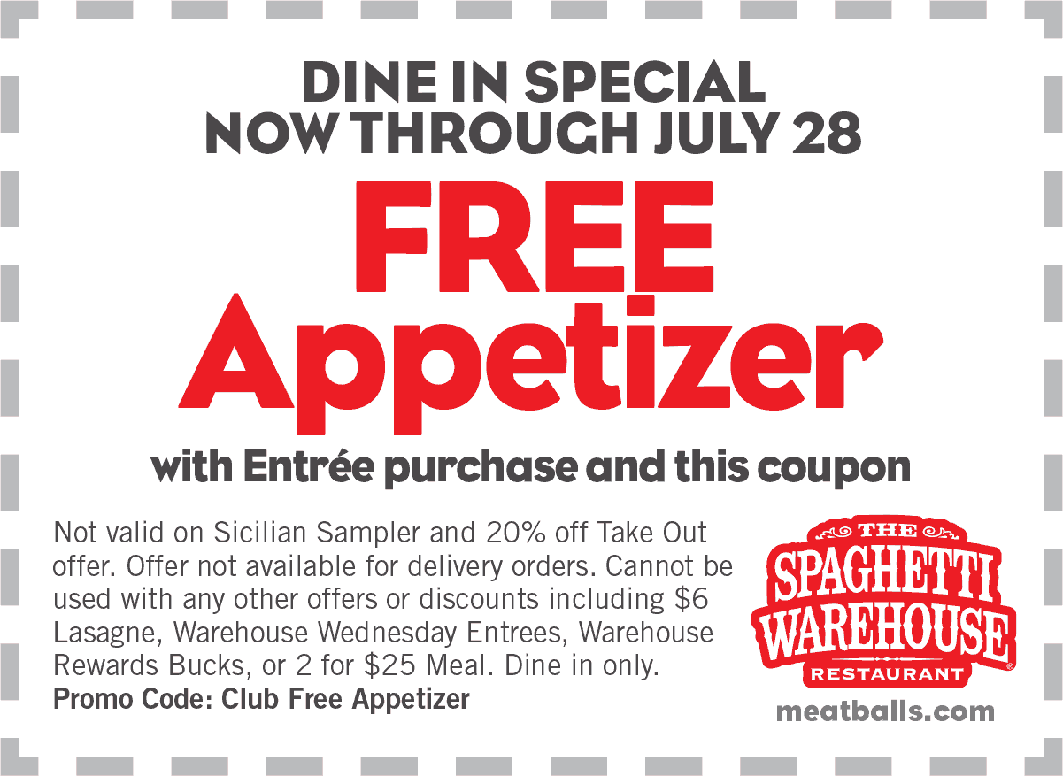 Spaghetti Warehouse Coupon May 2017 Free appetizer with your entree at Spaghetti Warehouse