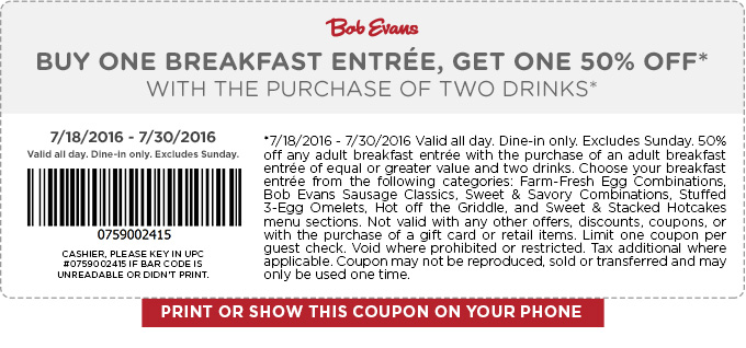 Bob Evans Coupon March 2017 Second breakfast 50% off at Bob Evans