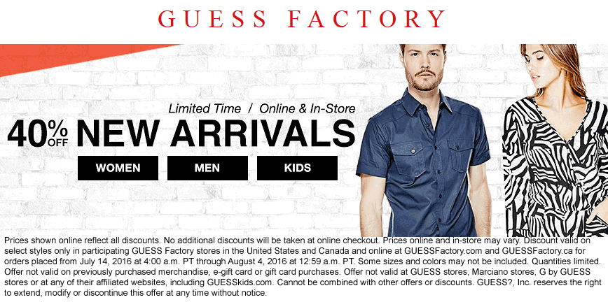 Guess Factory Coupon August 2017 40% off new arrivals at Guess Factory, ditto online