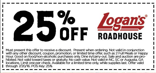 Logans Roadhouse Coupon October 2016 25% off at Logans Roadhouse restaurants