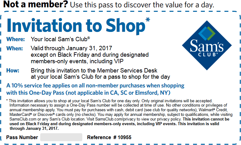 Sams Club Coupon August 2017 Free day pass to Sams Club