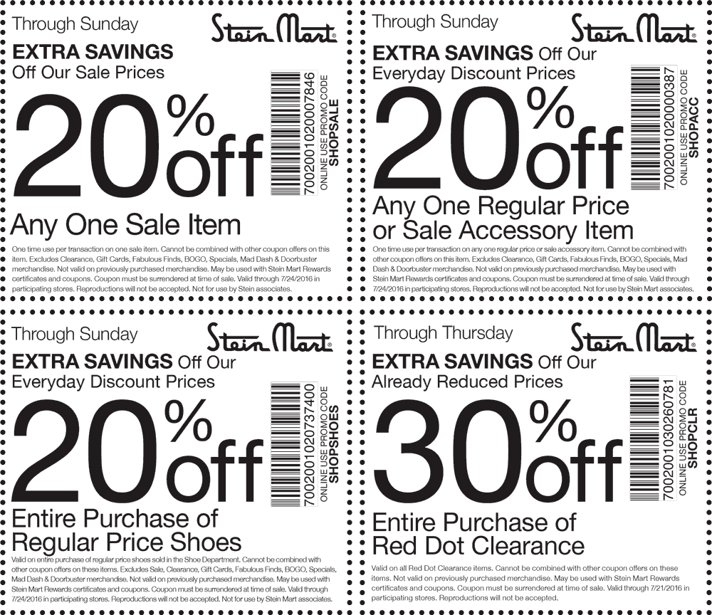 Stein Mart Coupon April 2017 Extra 20% off a sale item & more at Stein Mart, or online via promo code SHOPSALE