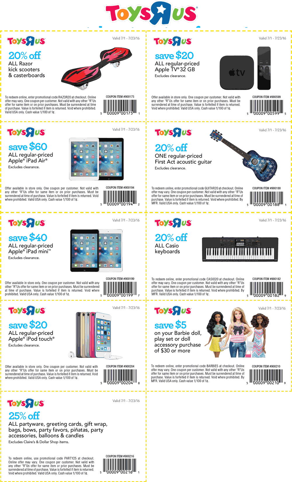 ToysRUs.com Promo Coupon Various coupons for Toys R Us