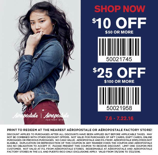 Aeropostale Coupon October 2016 $10 off $50 & more at Aeropostale & Aeropostale Factory