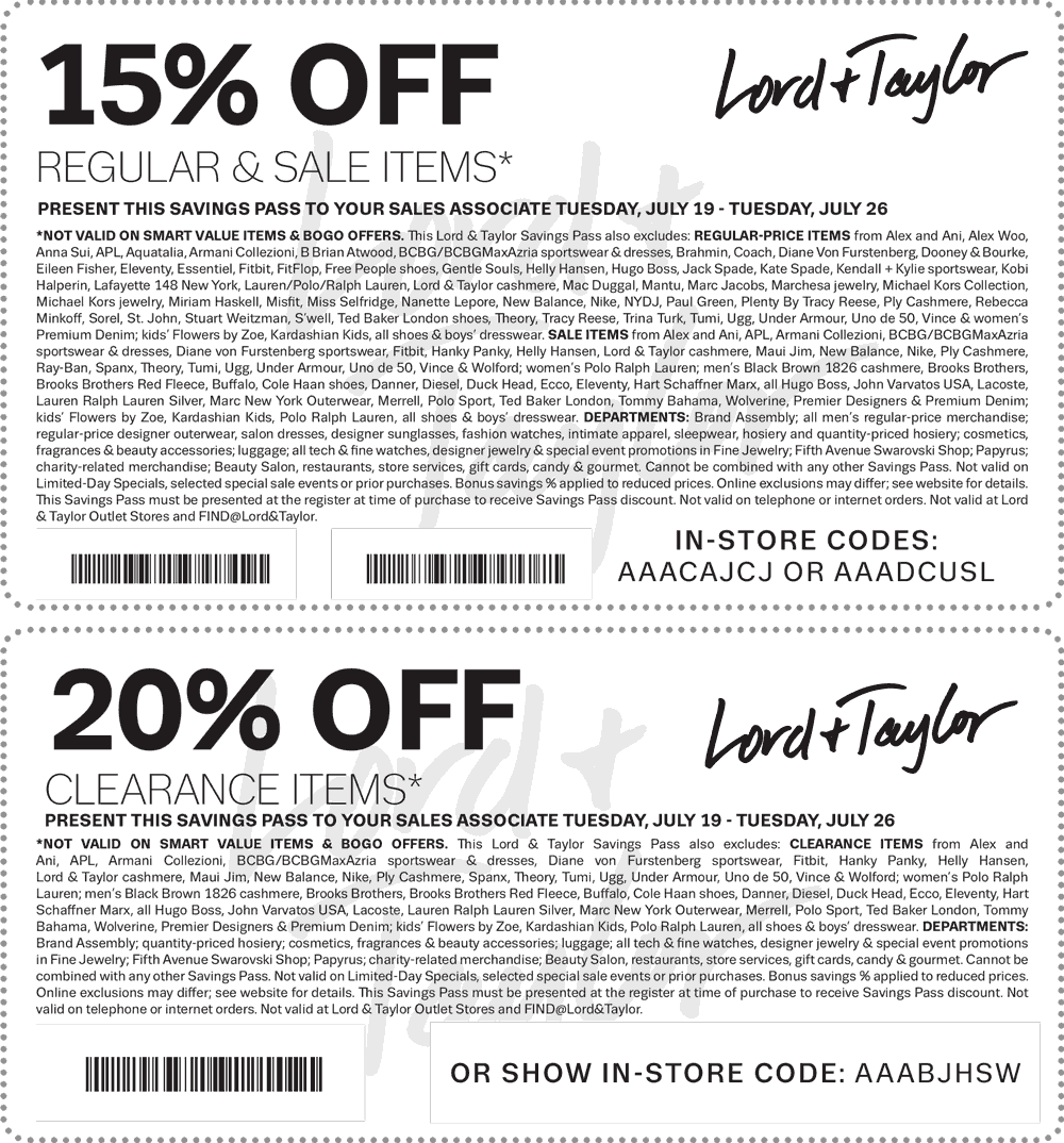 Lord & Taylor Coupon January 2017 Extra 15% off regular and sale & 20% off clearance at Lord & Taylor