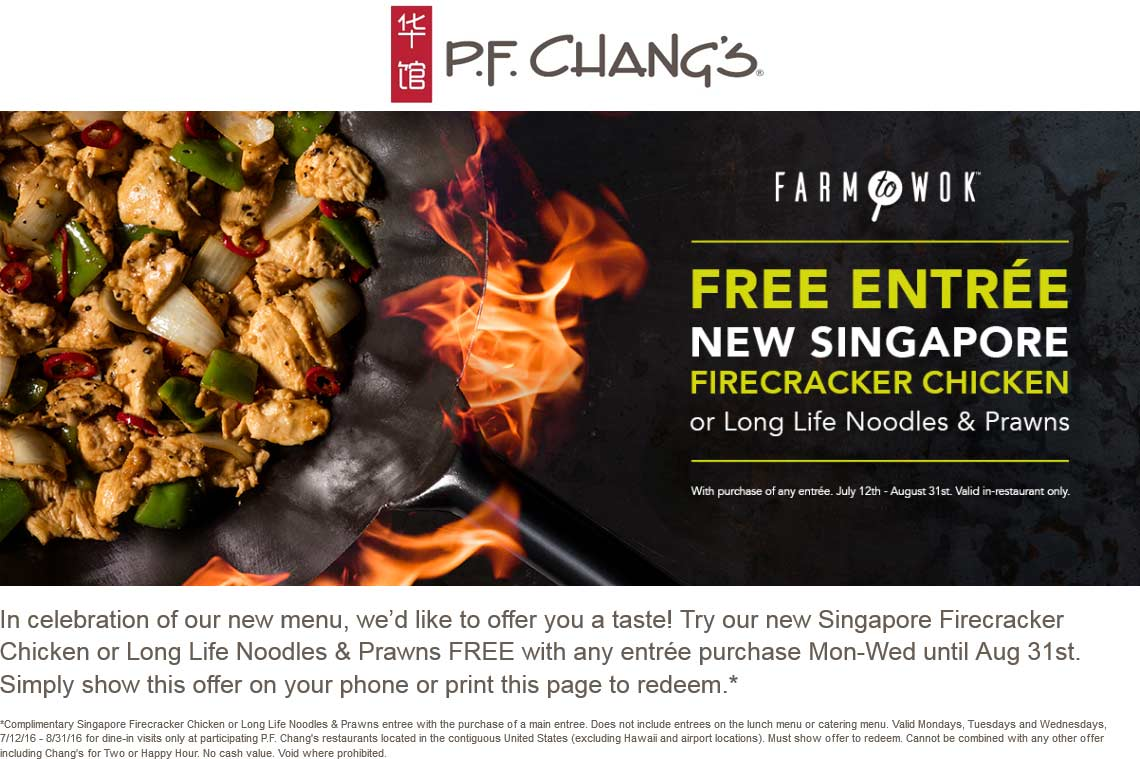 P.F. Changs Coupon April 2017 Second entree free at P.F. Changs