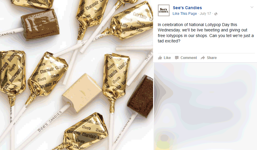 Sees Candies Coupon October 2018 Free lollypop today at Sees Candies