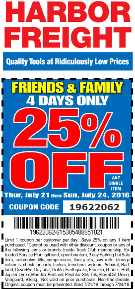 Harbor Freight Coupon August 2017 25% off a single item at Harbor Freight Tools, or online via promo code 80332503