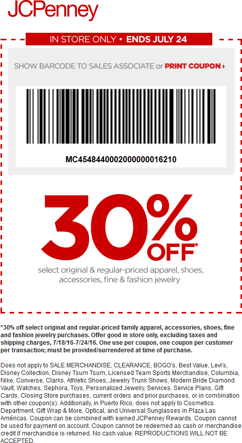 JCPenney Coupon December 2016 30% off various apparel & shoes at JCPenney