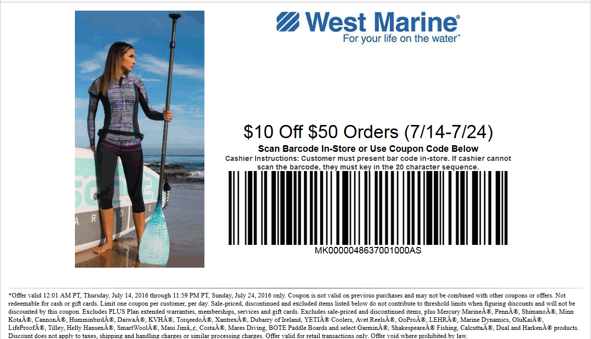 West Marine Coupon April 2017 $10 off $50 at West Marine