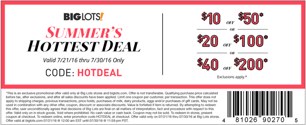 Big Lots Coupon January 2017 $10 off $50 & more at Big Lots, or online via promo code HOTDEAL