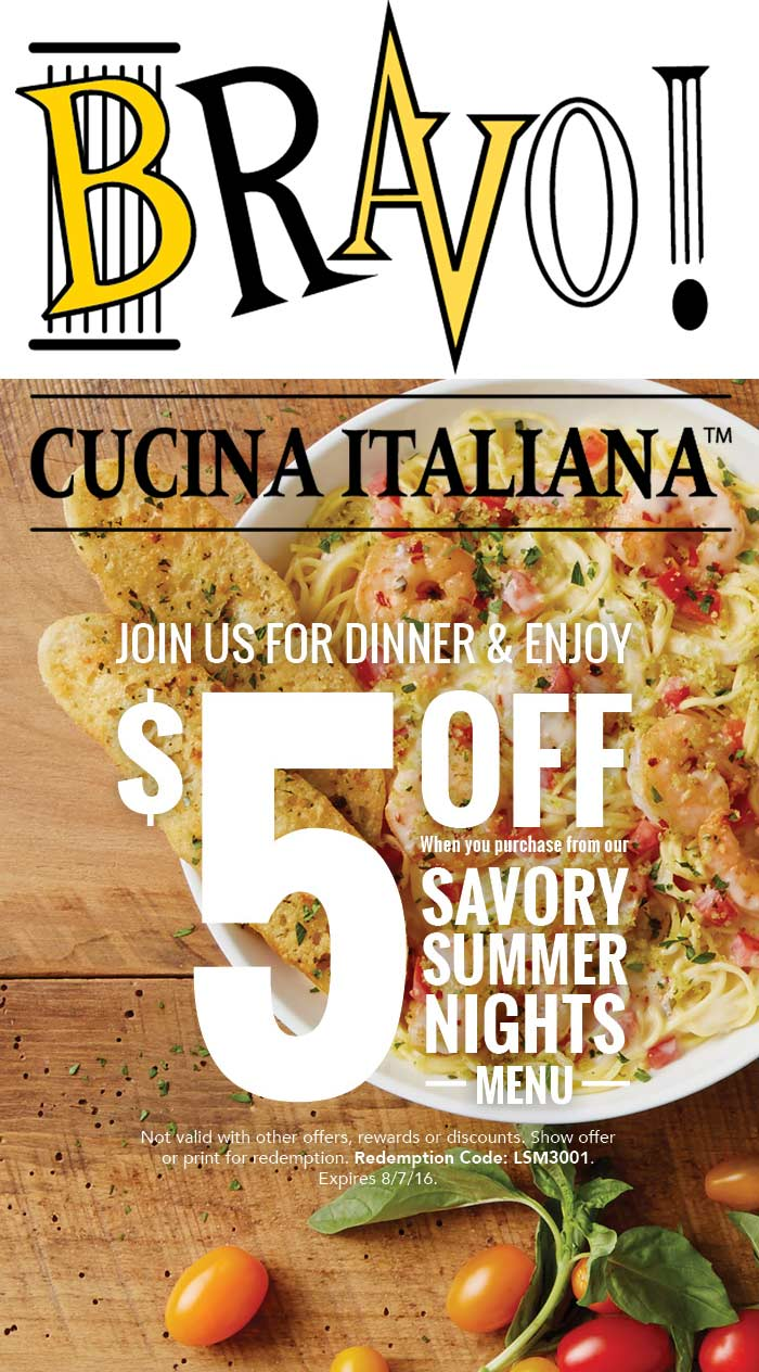 Bravo Coupon June 2017 $5 off summer nights menu at Bravo Cucina Italiana restaurants