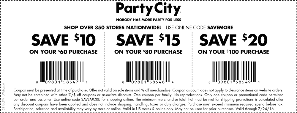 Party City Coupon June 2018 $10 off $60 & more at Party City, or online via promo code SAVEMORE