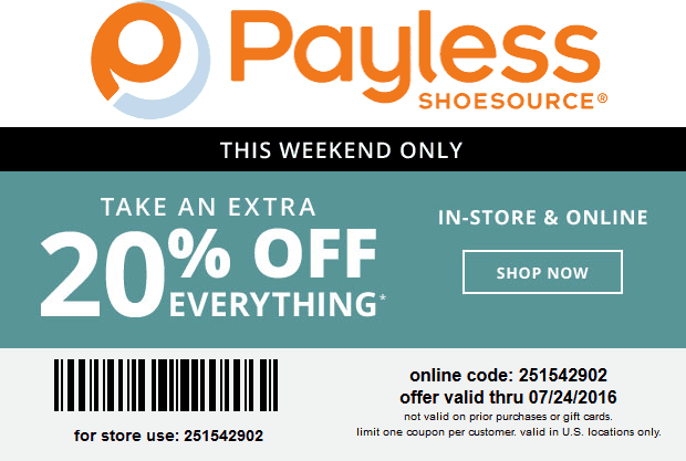 Payless Shoesource Coupon May 2017 Extra 20% off at Payless Shoesource, or online via promo code 251542902