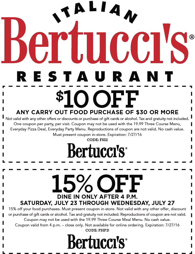 Bertuccis Coupon May 2018 15% off dinner & $10 off carryout at Bertuccis restaurants