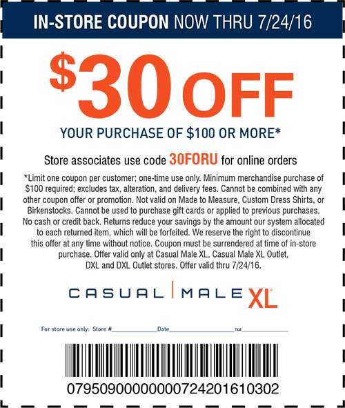 Casual Male XL Coupon February 2017 $30 off $100 at Casual Male XL, or online via promo code 30FORU